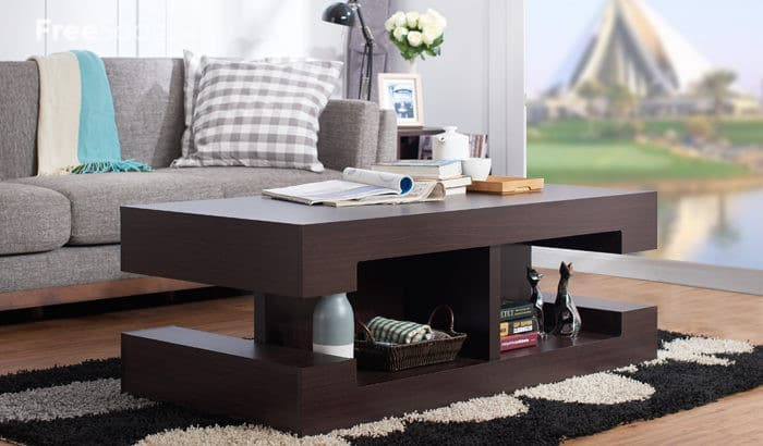 Brollen Espressso Modern Design Stacked Coffee Table